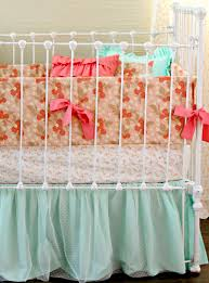 Turquoise And Pink Baby Bedding Pretty As A Peach Baby Bedding Lottie Da Baby Baby Bedding