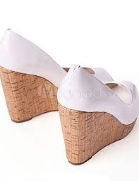 wedding shoes south africa white high heel peep toe wedge patent leather fashion shoes 57926 3 jpg