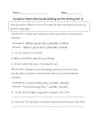 Quotation Marks Worksheet Englishlinx Com Quotation Marks Worksheets