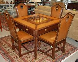 Leather Game Table Chairs Jonathan Charles Game Table And Set Of 4 Leather Chairs