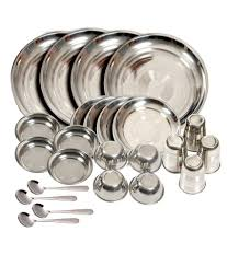 kitchen pro silver stainless steel dinner sets buy at best