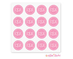monogram letter stickers printable monogram stickers or seals pink