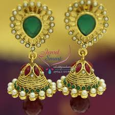 fancy jhumka earrings e4234 green pearl maroon antique earrings jhumka synthetic stones