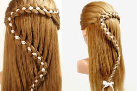 hairstyles for long hair 4 strand braid hair with ribbon youtube