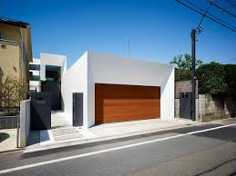 garage entrance bright contemporary home in tokyo japan