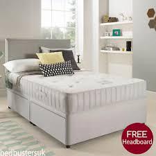 Divan Bed Set Suede Divan Bed Set Memory Mattress Headboard 3ft 4ft 4ft6