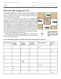 electron dot structures etc 9th 12th grade worksheet lesson