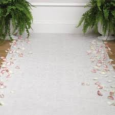 wedding runner aisle runner and green plants wedding decor