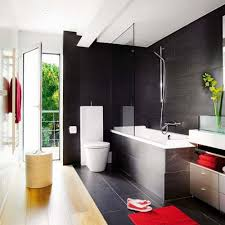 Grey And Black Bathroom Ideas And Black Bathroom Wall Decor White Brick Wall Checkered Tile