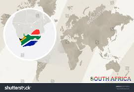 South Africa On World Map by Zoom On South Africa Map Flag Stock Vector 293776673 Shutterstock