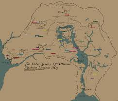 Elder Scrolls Map The Elder Scrolls Iv Oblivion Wayshrine Locations Map For Pc By