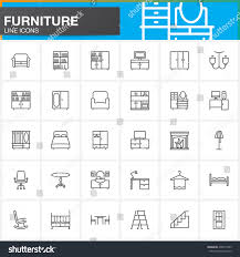 furniture line icons set home interior stock vector 496915459