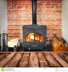 rustic planks wood burning stove stock photo image 58688037