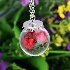 bottle necklace aliexpress images 1pcs nice rose dried flower necklace paper rose flowers glass jpg