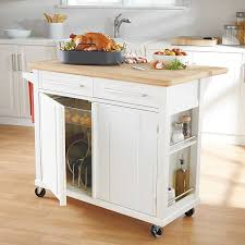 andover mills guss kitchen island cart with natural butcher block