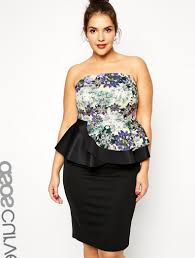 plus size black peplum dress pluslook eu collection