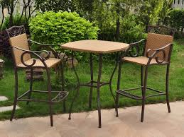 Patio Furniture Bar Set - 3 piece wicker patio set chair bar set and high bar table 3 piece