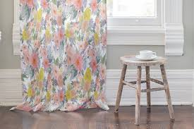 Peach Floral Curtains Bold Watercolor Floral Curtain By Qing Ji Minted