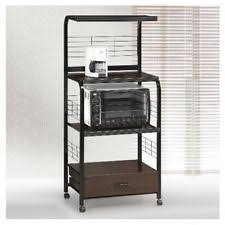 Kitchen Storage Shelves by Microwave Stand 5 Shelf Metal Bakers Wine Rack Kitchen Cart With