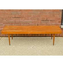 mid century modern slat bench coffee table in beech styled after