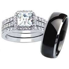 black wedding rings his and hers his hers 4pcs black titanium matching band women princess cut