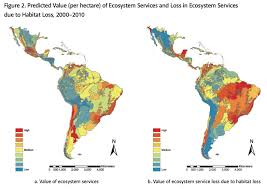 map of mexico south america mapping the value of ecosystem services in america and the