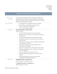 Sample Resume Objectives For Secretary by Excellent Financial Resume Samples For 100 Resume Sample Goals