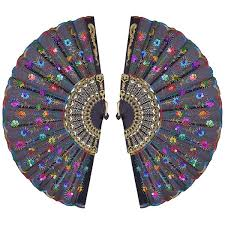 silk peacock home decor metable 2 pcs silk folding fan colorful sequins peacock pattern