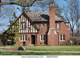 English Tudor Home Old Brick English Tudor House Slate Stock Photo 588993953