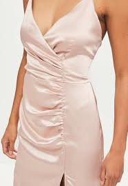 gold maxi dress gold satin ruched split maxi dress missguided