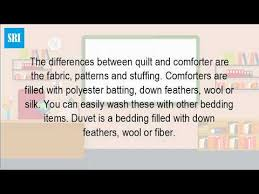 What Is The Difference Between Comforter And Quilt Is A Duvet A Blanket Youtube