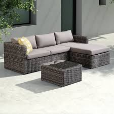 armen living coffee table living hagen 3 piece outdoor rattan sectional chase set with dark