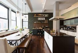 23 kitchens with chalkboard paint contemporary kitchen and dining room chalkboard wall large windows dark brown hardwood floor island with storage