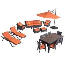 Orange Wicker Patio Furniture - rst brands deco estate wicker 20 piece patio conversation set with