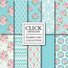 shabby chic wrapping paper shabby chic digital paper shabby chic turquoise floral