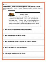 cooking turkey writing and reading comprehension combo by mrhcreations