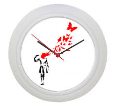 unique banksy inspired wall clock wall clocks