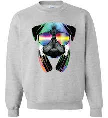 pug sweater trippy dj pug sweater teeshirtpalace
