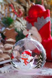 decoration glass with light up snowman decoration
