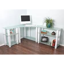 modern clear glass corner computer desk home and garden decor