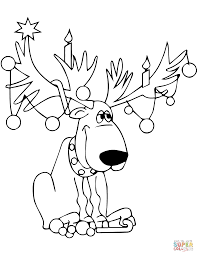 reindeer tangled in christmas lights coloring page free