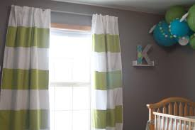 Green Striped Curtains And White Striped Curtains