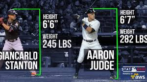 Aaron Judge Yankees Slugger Becomes Tallest Center Fielder - giancarlo stanton aaron judge get compared mlb com