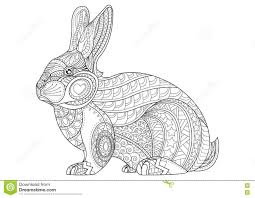 coloring page rabbit hand drawn vintage doodle bunny vector stock