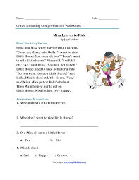 Reading Comprehension 3rd Grade Worksheets Free Worksheet Collection Of Free Printable Reading Comprehension