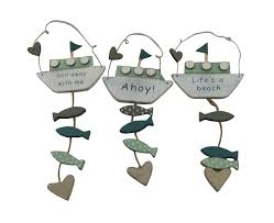 set of 3 sasse and belle boat plaques bathroom accessory or