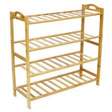 Entryway Shoe Rack Amazon Com Allmill 100 Natural Bamboo 4 Tier Shoe Rack Entryway