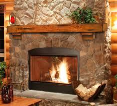 living room concrete stone brick chimney walnut mantel shelf