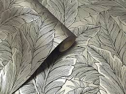 wallpaper john u0027s u2013 metallic silver u0026 black textured leaf design