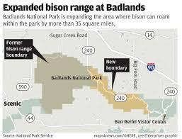 badlands national park map bison getting more space in badlands local rapidcityjournal com